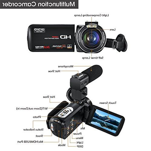 ORDRO Camcorder Full HD Camera with External Microphone and Angle