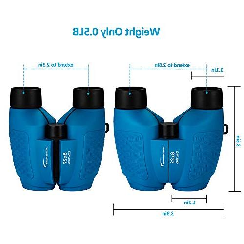 Aurosports Compact Fixed Binoculars for Kids, for 4-7 Boys for Teen Blue
