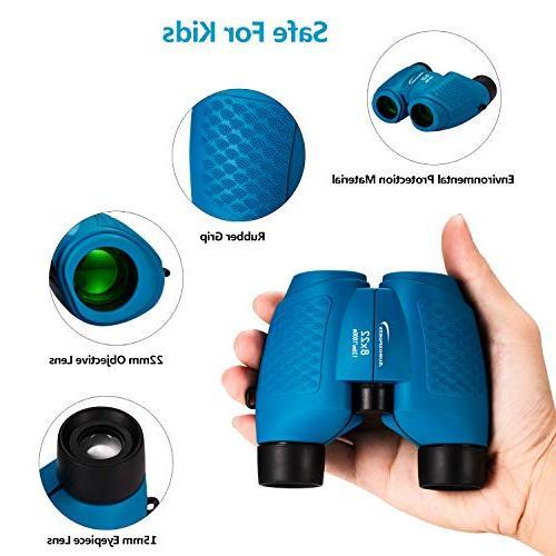 Aurosports Compact Binoculars Kids, for 4-7 Year Boys Top Blue