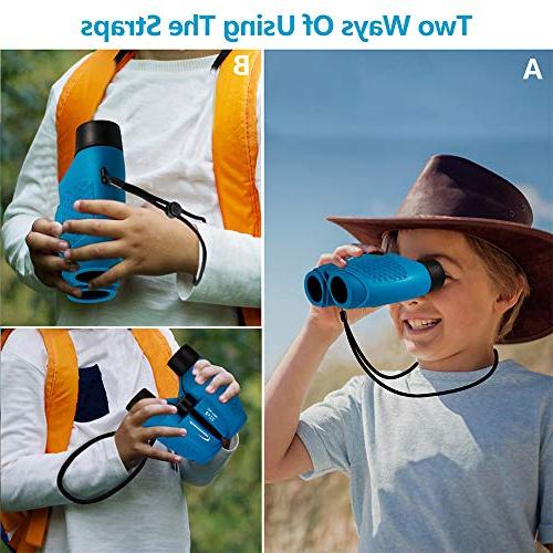 Aurosports Compact Fixed Binoculars Kids, for Year Boys Girls,6-14 Top Boys for Blue