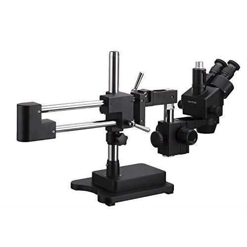 AmScope 3.5X-180X Trinocular Stereo Zoom Microscope Black Double