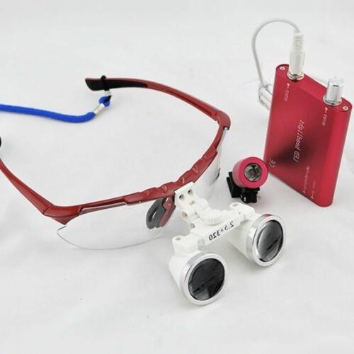 FDA Dental Loupes 320mm Binocular With Head Light Lamp