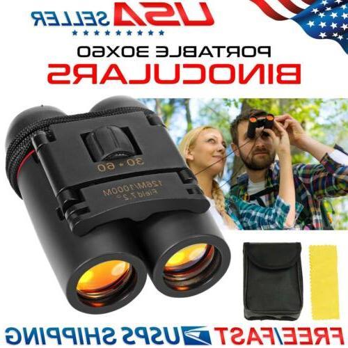 Day Binoculars 30 x 60 Zoom Outdoor Travel Conpact Folding T