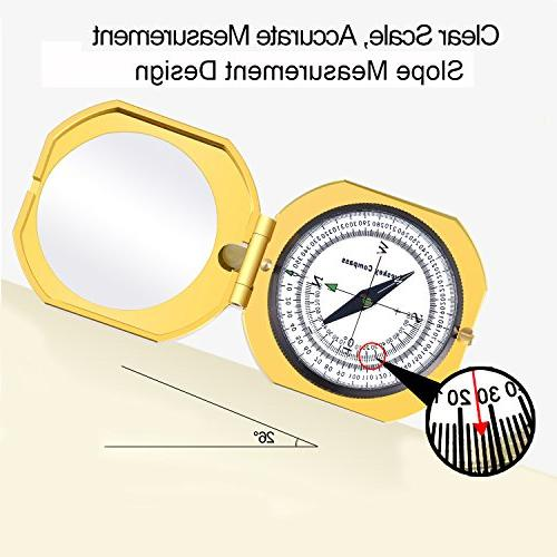 Eyeskey Top-Grade Multifunction Compass for Outdoor High Accuracy, Waterproof Shakeproof, Golden Luxury