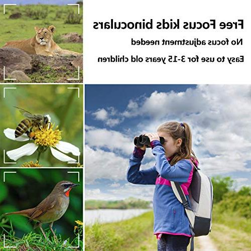 Aurosports Kids Focus Binoculars Shockproof for Christmas Present Toy for Hiking Watching
