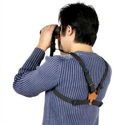 Leather BINOCULARS HARNESS Strap Belt for Canon Pentax Leupo