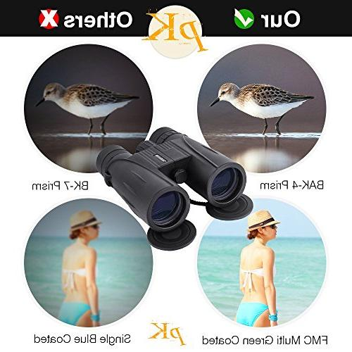 8x42 Full-Size Adults. Durable HD Clarity Binoculars for Bird with Strap Lens Cap