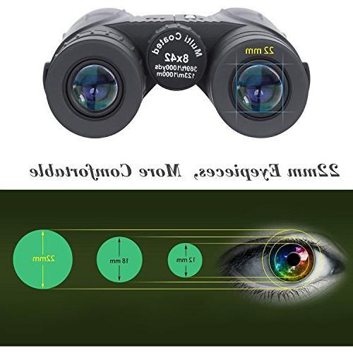 8x42 Binoculars Adults. Binoculars for Bird Watching Sightseeing Hunting Sporting with Case Strap Lens