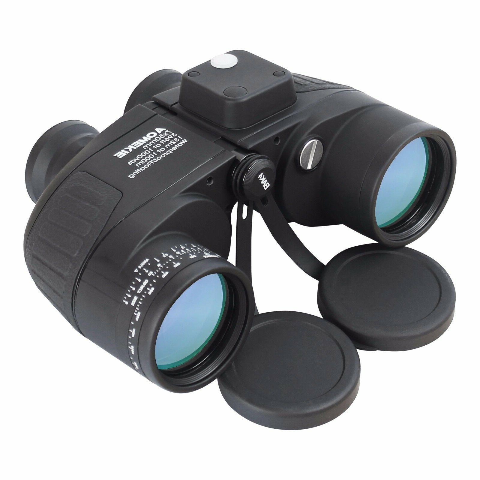 7X50 Binoculars with Night Vision Rangefinder Compass Waterp