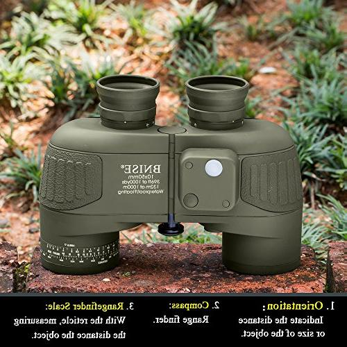 BNISE Military HD Binoculars for and Rangefinder 10x50 Large Object Lens BAK4 and Fogproof, with Strap Strap
