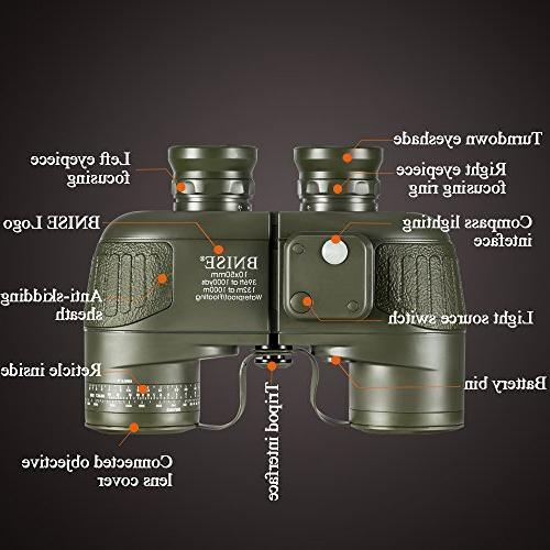 BNISE HD for Navigation and Rangefinder 10x50 Object Lens BAK4 View, Waterproof and with Strap Neck