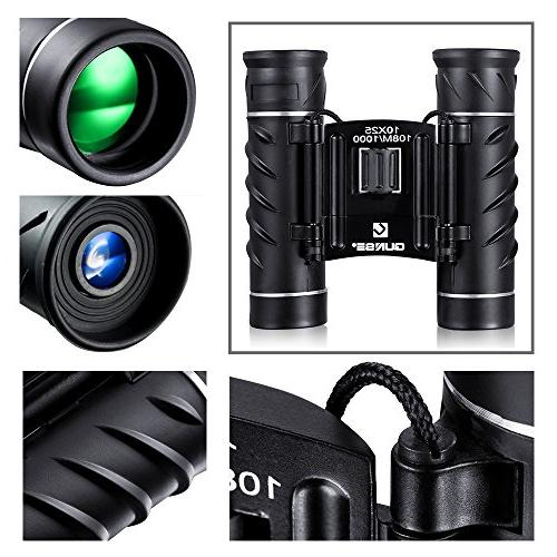 QUNSE Mini Binoculars 10x25 Design for Adults Clear Optical for Watching, Hunting and Games