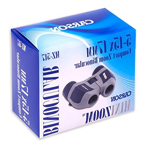 Carson MiniZoom 5-15x17mm Compact Lightweight Binoculars Travel, Watching, Hiking, Surveillance, Sight-Seeing, Safaris, Hunting Outdoor Adventures