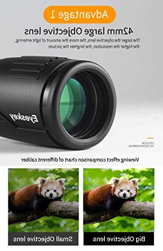 Eyeskey 8-24x42 Monocular Compact Bright Images to Operate Wildlife Hiking Camping