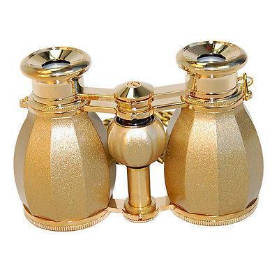 HQRP 4x30 Opera Binocular Antique Style Golden w/ Chain