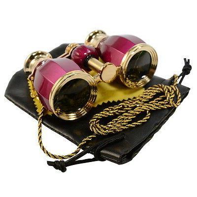 HQRP 4x30 Opera Glasses Antique Style Red Theater Binocular