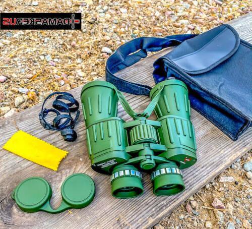 Perrini 60X50 Day/Night Military Army Binoculars Green w/Pou