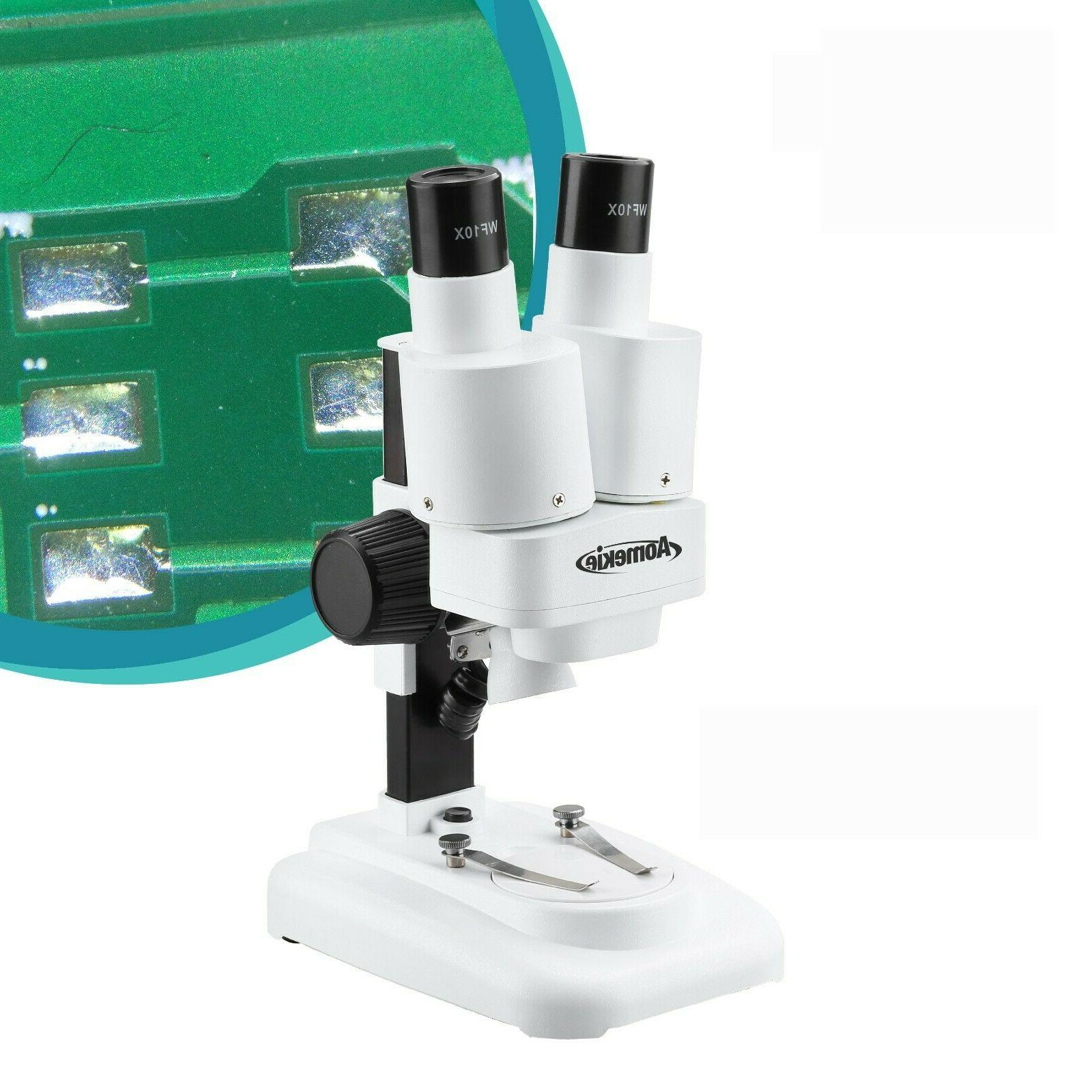 20X Potable Binocular Stereo Microscope LED illumination For