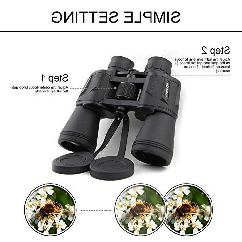 20x50 Binoculars, Compact Waterproof Telescope for Adults Bird Hunting Football-BAK4 Lens-with Strap