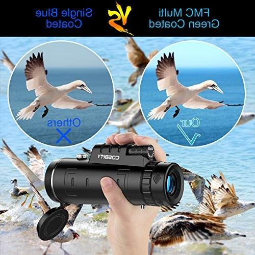 Monocular Telescopes, Focus Scopes, Low Night Vision Phone Clip and Tripod for Phone-for Watching,