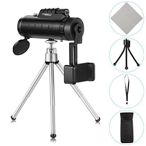 Monocular 12x50 Dual Focus Scopes, Low Vision Phone Clip Tripod for Cell Bird Watching, Hunting, Hiking, Outdoor,