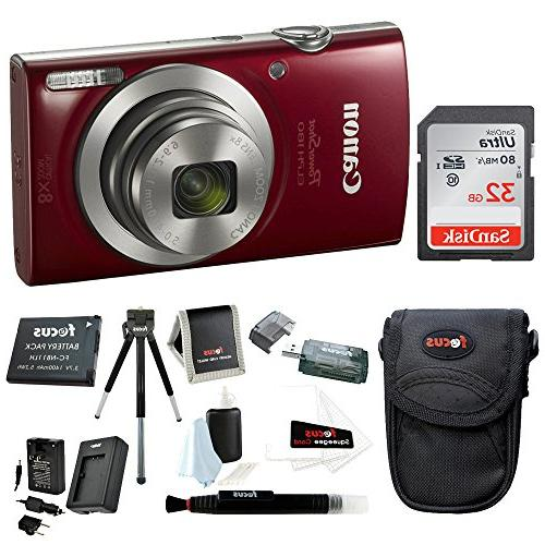 Canon 20 Digital Camera Red w Bundle