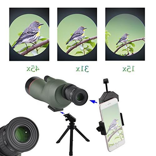 Gosky 15-45X60 - Waterproof Target Shooting Bird Animal Outdoor Activities with Tripod and Phone