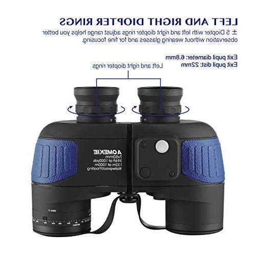 Aomekie 7X50 Marine for Adults, Military Binoculars Waterproof Fogproof Rangefinder BAK4 Prism Lens for