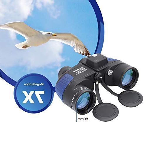 Aomekie 7X50 Marine for Binoculars Waterproof with Rangefinder BAK4 Prism Lens for Navigation,Boating,Fishing,Water Sports,Hunting
