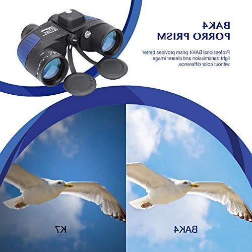 Aomekie 7X50 Marine Binoculars for Military Waterproof Rangefinder Lens for