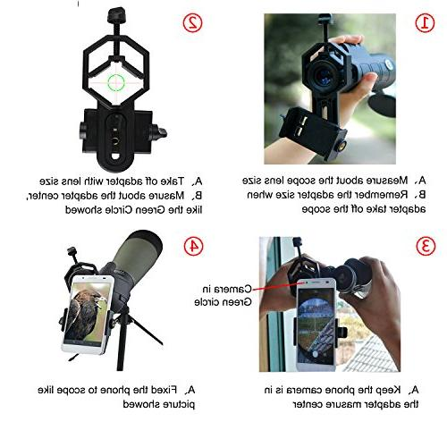 Universal Telescope Adapter Mount, Monocular Spotting Scope for iPhone HTC LG
