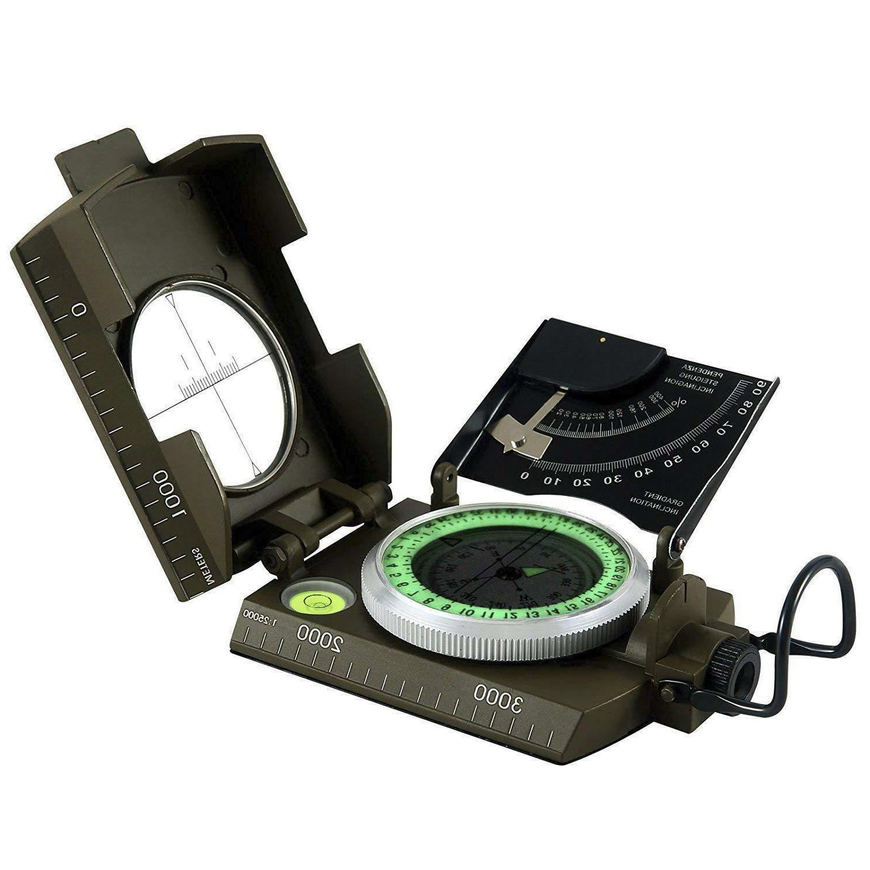 waterproof multifunctional military metal sighting compass w
