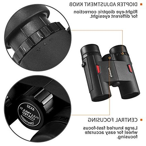 Eyeskey Wayfarer 8x32 Compact Binoculars Teenagers, Travel Outdoor Sports and