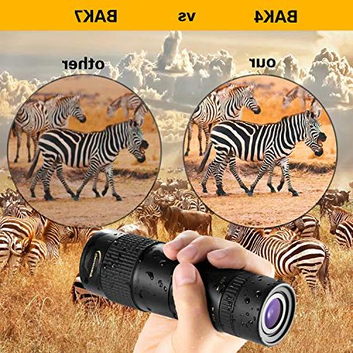 Aurosports Monocular with BAK4 Focus Waterproof Hiking Hunting Watching Best Gifts Men