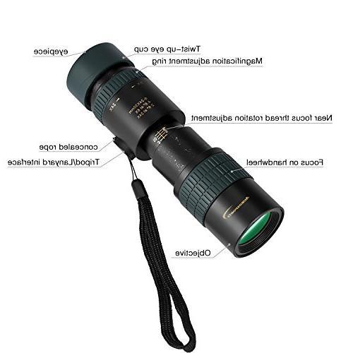 Aurosports 8-24x30 Waterproof Pocket Telescope Focus Lens Hiking, Hunting, Concert
