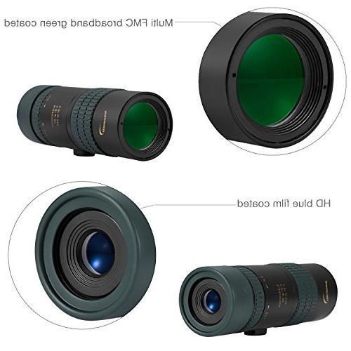 Aurosports 8-24x30 Waterproof Pocket Telescope Dual Focus BAK4 Multi-Coated Lens Hiking, Hunting, Concert