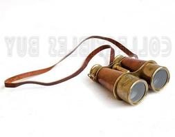 marine binocular brass antique dark brown leather optical te