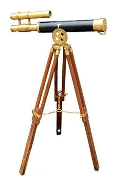 Marine Navy Leather Elegant Telescope Rosewood Tripod Stand