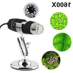 1600X Digital Microscope USB Endoscope Camera, 8 LED Mini Di
