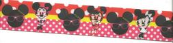 """Minnie the Nerd on red dots grosgrain ribbon 1.5"""" x 3ft or 1"""