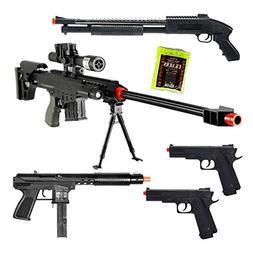 Mixed Lot of 5 Airsoft Guns Sniper Rifle Shotgun Spring Pist