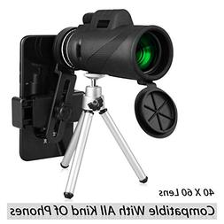 40X60 HD Monocular Telescope with Phone Clip&Tripod, High Po