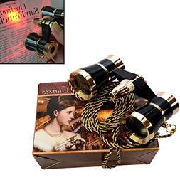 3 x 25 Opera Glasses Binocular Black with Gold Trim w/ Neckl