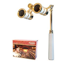 HQRP Opera Glasses White-Pearl with Gold Trim w/ Built-In Ex