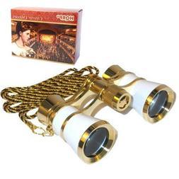 HQRP 3 x 25 Opera Glasses Binocular White Pearl with Gold Tr