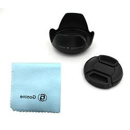 52mm Lens Hood and 52mm Center Pinch Lens Cap Kit Compatible