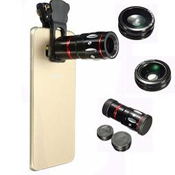 Phone Camera Lens Kit, Amever 4 in1 10x Zoom Telephoto Fish