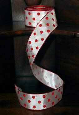 """POLKA DOTS RIBBON ROLL, White with Red Dots, 1.5"""" x 10 Yds"""