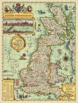 National Geographic RE00620097 Map Of Shakespeares Britain