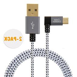 CableCreation [2-Pack 10 Feet Right Angle Micro USB 2.0 Brai